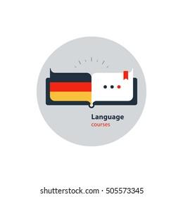 German language courses advertising concept. Fluent speaking foreign language. Advertising concept lingual classes. Flat design vector illustration