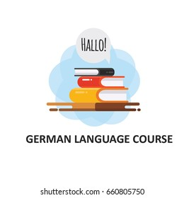 "German language courses illustration with german word ""Hello"". Perfect for network advertising or language school."