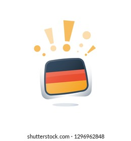 German language, flags icons, linguistic learning, online course, enroll button, chat speech bubble, exam and test preparation program, vocabulary improvement, check mark