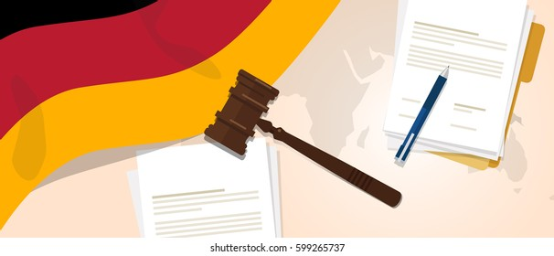 German law constitution legal judgment justice legislation trial concept using flag gavel paper and pen