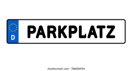 German Licence Plate Parking Spot - Vector Illustration