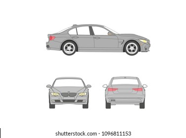 German luxury car fast race cars bmw 3 cartoon front side, back side and sideview Expensive five door cars royalty free vector