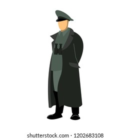 German officer during the world war, the commander is in a cloak or overcoat with binoculars on his chest, hands behind his back. Drawing, vector.