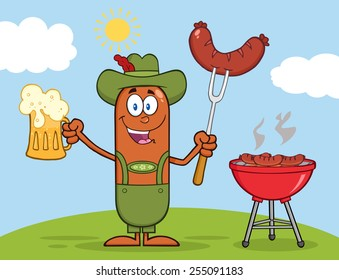 German Oktoberfest Sausage Cartoon Character Holding A Beer And Weenie Next To BBQ. Vector Illustration