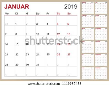 German Planning Calendar 2019 Calendar Template Stock Vector