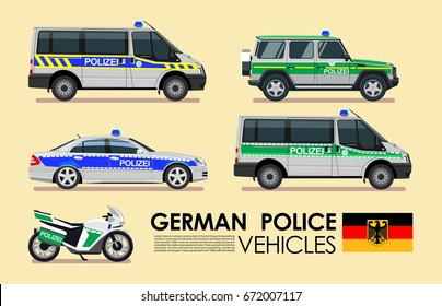German police cars vehicles emergency transport vector set.  Police cars of Deutsche flat design collection