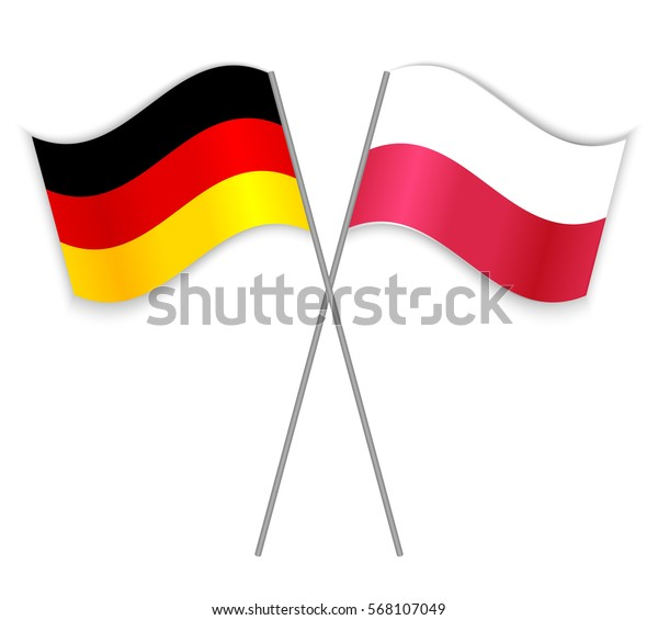 German Polish Crossed Flags Germany Combined Stock Vector