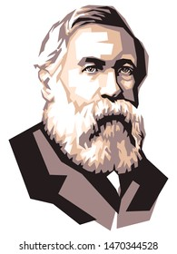 German politician and theorist  Friedrich Engels portrait illustration, isolated style on white background
