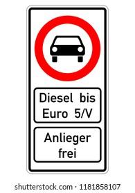 german road sign - diesel bis euro 5 verboten