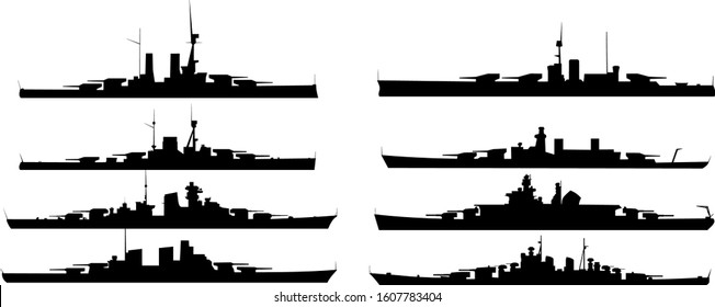 German and Russian (Soviet) military battleships. Artillery armored vehicles. Dreadnought. Isolated black vector graphic elements on transparent/white background. Set.