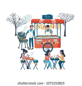 The German sausage food stall selling at the market fair or flea market, all in colorful doodle cartoon flat design, illustration, vector, on white background