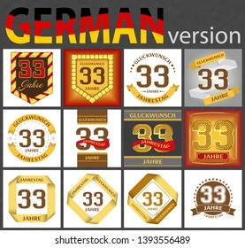 German set of number thirty-three years (33 years) celebration design. Anniversary number template elements for your birthday party. Translated from the German - congratulation, years, anniversary