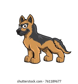 German shepherd cute hand drawn vector color dog mascot