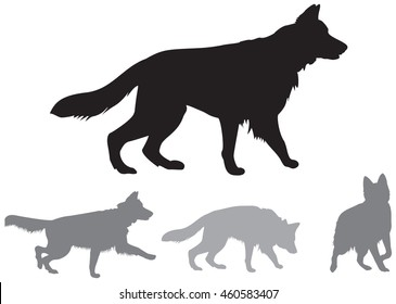 German shepherd dog breeds dynamic vector silhouettes