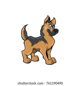 German shepherd dog cute funny face hand drawn color vector puppy mascot