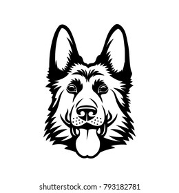 German Shepherd dog - isolated outlined vector illustration