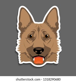 German shepherd dog K9 head portrait magnet, sticker, key chain idea