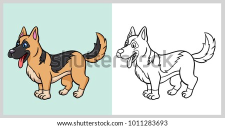 German Shepherd Dog Pet Animal Cartoon Stock Vector Royalty Free