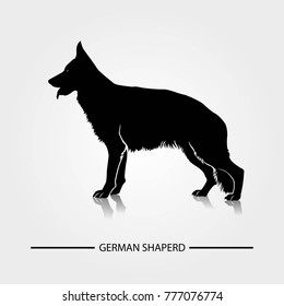 German Shepherd dog silhouette vector illustration