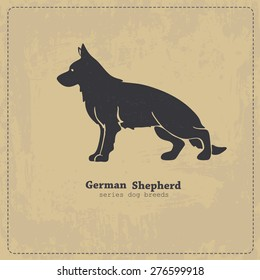 German shepherd dog standing in profile stylized silhouette on shabby vintage background. All objects are conveniently grouped on different layers.