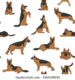 German shepherd dogs in different poses. Shepherd characters seamless pattern.  Vector illustration