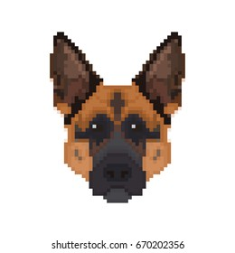 German Shepherd head in pixel art style. Dog vector illustration.