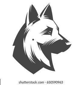 German Shepherd head - vector illustration, emblem design on white background