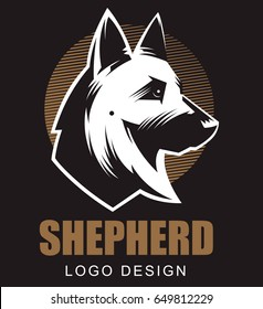 German Shepherd Illustration. Logo, emblem. Black baground.
