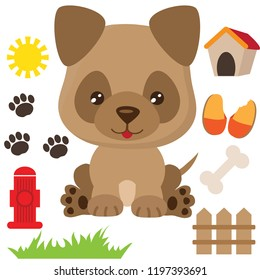 German Shepherd puppy  dog vector cartoon illustration