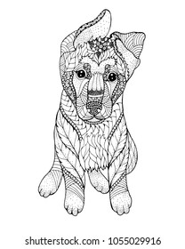 German shepherd Puppy zentangle stylized. Freehand vector illustration. Print for POD sites and coloring books.