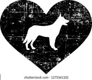 German Shepherd silhouette in black heart