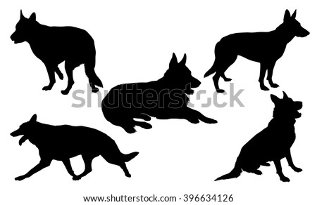 german shepherd silhouette collection stock vector royalty free
