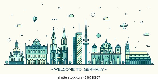 German skyline, detailed silhouette. Berlin, Dresden, Frankfurt, Cologne, Hamburg, Munich. Trendy vector illustration, linear style