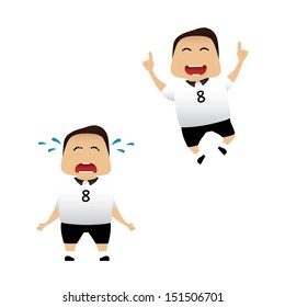 German soccer player actions collection on white background