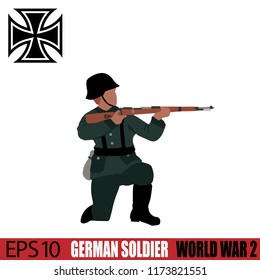 German Soldier of World War 2. Vintage 1940's. Original digital illustration.