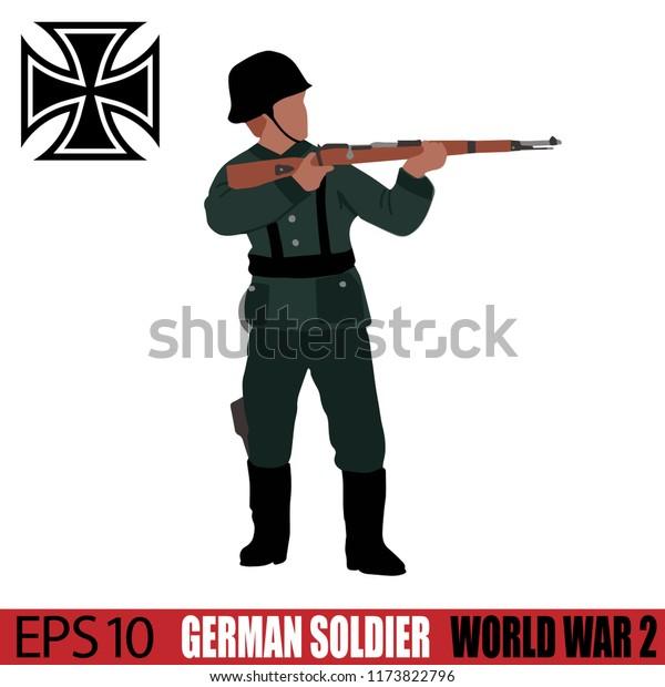 German Soldier of World War 2. Vintage 1940's. Original digital illustration.