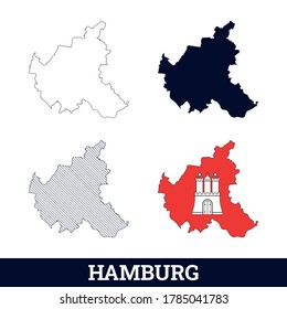 German State Hamburg Map with flag vector