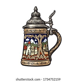 German stein beer mug with decorations in the form of old medieval city. Colorful hand drawn vector illustration isolated on white backgraund. Brewery beer festival bar pub design.