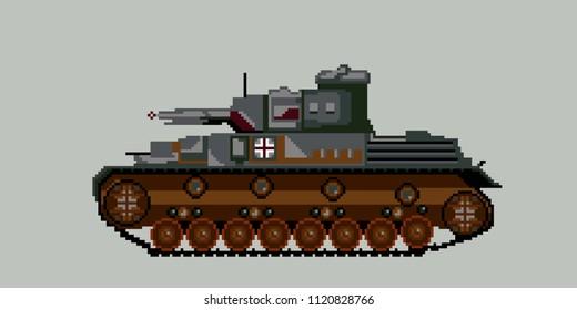 German tank in World War II.Pixel art. Vector Illustration isolated on background.