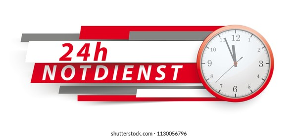 German text 24h Notdienst, translate 24h emergency service. Eps 10 vector file.