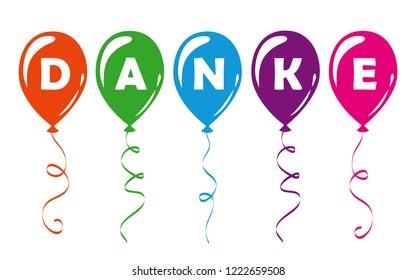 german text Danke translation Thank You colorful balloons vector illustration