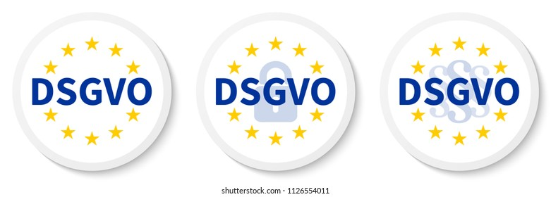 German text DSGVO translate GDPR white circle sticker set with the EU flag, the padlock icon and paragraph marks.