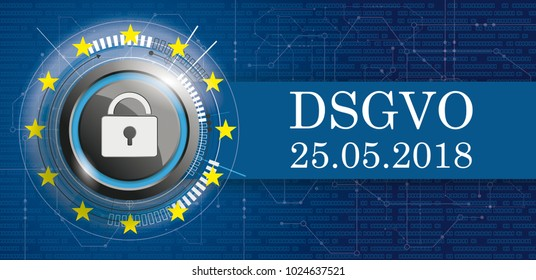 German text DSGVO, translate General Data Protection Regulation. Eps 10 vector file.