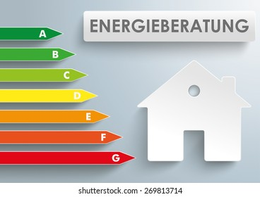 """German text Energieberatung, translate """"Energy Consulting"""". Eps 10 vector file."""