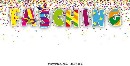 German text Fasching, translate Carnival. Eps 10 vector file.