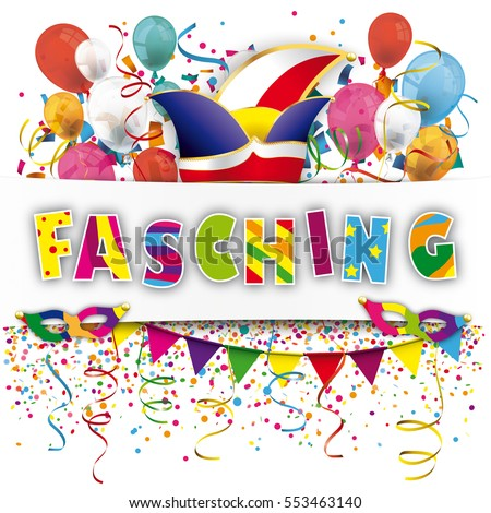 German Text Fasching Translate Carnival Eps Stock Vektorgrafik
