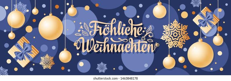 German text Frohe Weihnachten. Horizontal header Christmas Top view Flat lay banner poster.Christmas typography. Happy Christmas in Deutschland greeting card Weihnachtskarte. Neujahrstag Deutschland