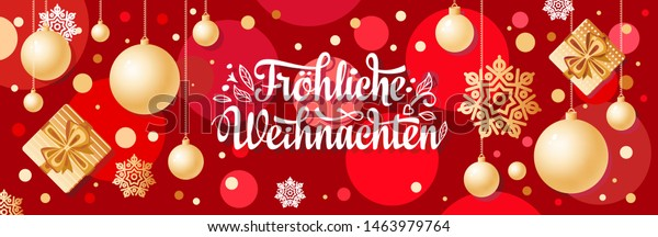 german text frohe weihnachten horizontal header stock. Black Bedroom Furniture Sets. Home Design Ideas