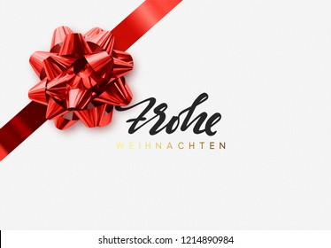German text Frohe Weihnachten. Merry Christmas Holiday background. Greeting card with lush red bow
