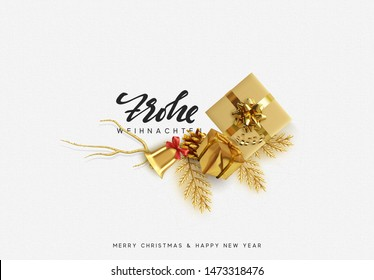 German text Frohe Weihnachten. Merry Christmas and Happy New Year. Xmas Festive background with realistic design elements. Holiday Objects, gift box, decorative pine branches. Top view flat lay.